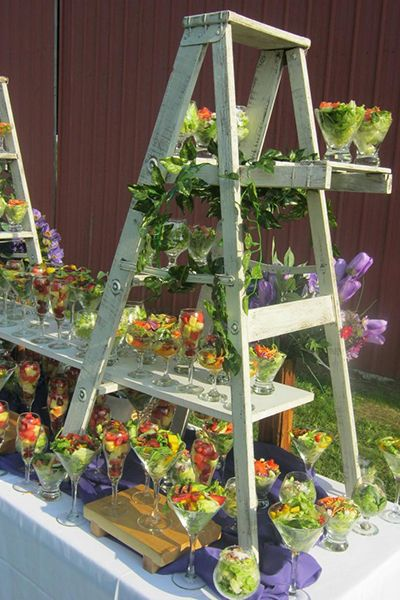 A salad course served in this striking display is lovely for an summer outdoor meal.