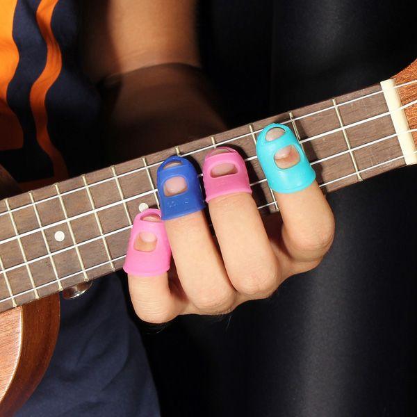 4 In 1 Guitar Fingertip Protectors Silicone Finger Guards For Ukulele Sale-Banggood.com