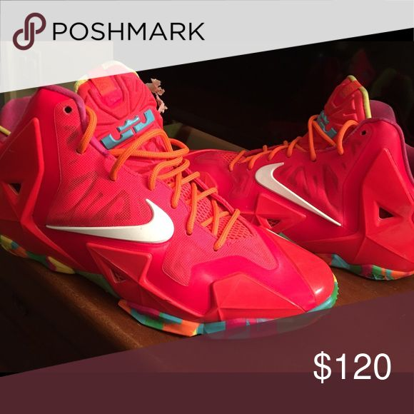 Lebron 11 Fruity Pebbles Worn three times, runs big, size 7 GS Nike Shoes Sneakers