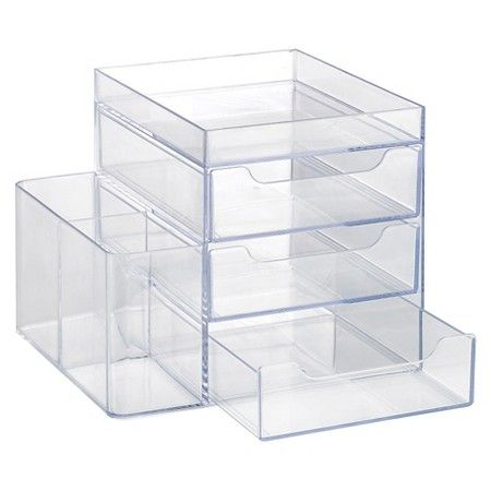 3 Drawer Cosmetic Organization System Clear Merrick : Target
