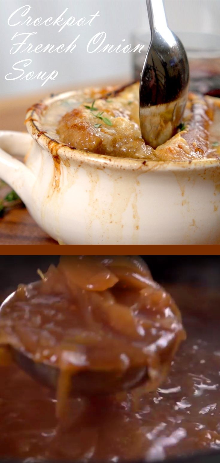 Crockpot French Onion Soup Recipe | Here's a foolproof recipe to make the perfect French onion soup! Just pull our your slow cooker involved and let it do all the heavy lifiting! You'll plenty of yellow onions, unsalted butter, olive oil, salt & pepper, thyme, balsamic vinegar, beef broth and a baguette and Gruyere cheese to top it off. Click for the video and how to. #easyrecipes #slowcookerrecipes #homecooking #comfortfood