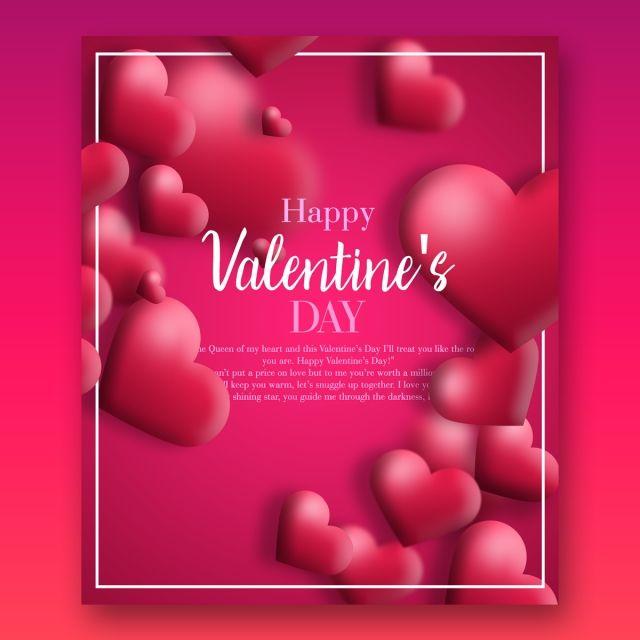Modern Style Pink Heart Elegant Template Card Design Happy Valentine Day Quotes Valentine S Day Greeting Cards Valentines Day Greetings