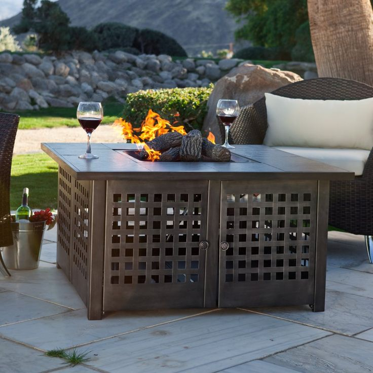 Awesome Uniflame Propane Gas Fire Pit With Grey Slate Top   Fire Pits At Hayneedle