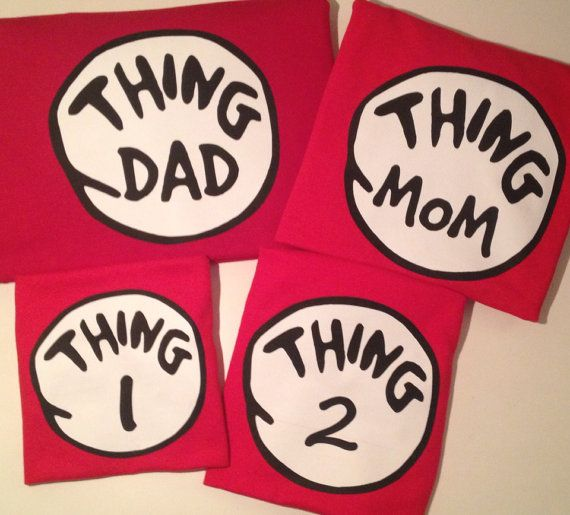 Thing 1, Thing 2, Thing Mom, Thing Dad, Dr. Seuss Shirts Adults Kids Birthday Family Reunion Custom Personalized Red on Etsy, $9.75