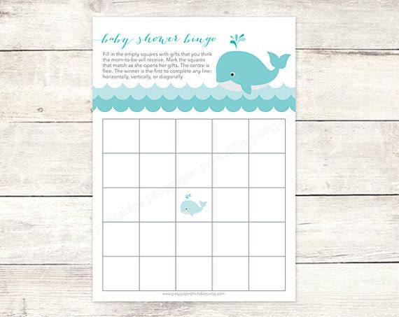 Baby Shower Bingo Game Card Printable DIY Whale Waves Aqua Blue Grey Cute  Baby Boy Gender Neutral Digital Shower Games   INSTANT DOWNLOAD