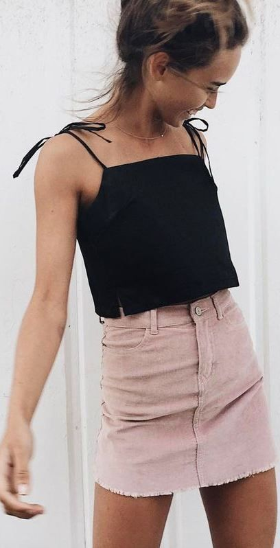 cool summer street style outfit: top + skirt