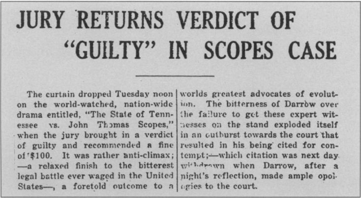 an overview of the scopes monkey trials of 1925 The scopes trial of 1925 pitted william jennings bryan against clarence darrow  in an american court case that tested a law passed on march 13, 1925,.
