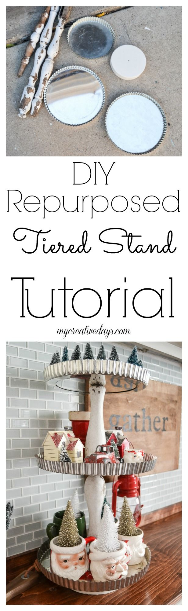DIY Tiered Stand Tutorial - Make a tiered stand from pie tart pans!