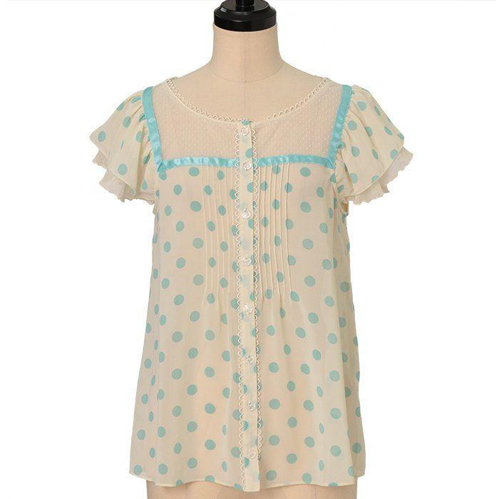 Dot chiffon A line blouse  Emily Temple cute  https://www.wunderwelt.jp/en/products/w-24462    Worldwide shipping available ♪   How to order ↓  https://www.wunderwelt.jp/en/shopping_guide  * Japanese online shop for second-hand Lolita Fashion *Wunderwelt *