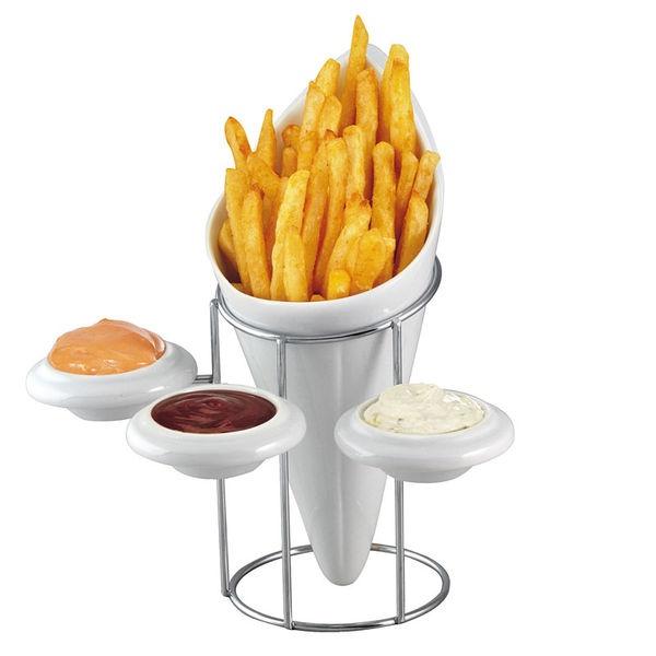 Cornet à frites 3 coupelle en céramique Kitchen Artist