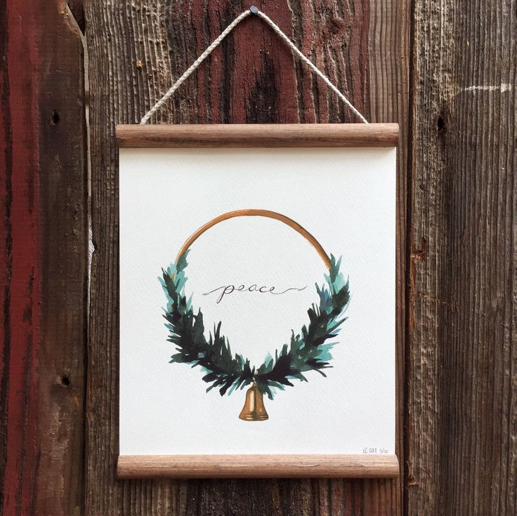 "8x10 Watercolor Print Framed ""Peace"" Christmas Wreath by Em Campbell $42 by EmCampbellArt on Etsy"