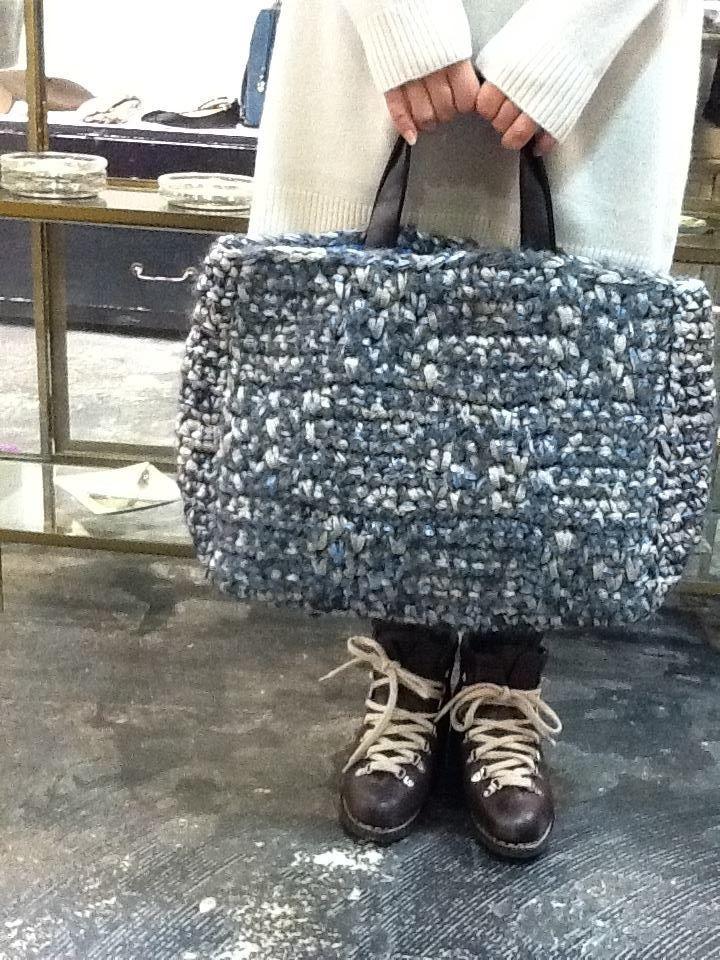 crochet bag-crochet with fabric strips