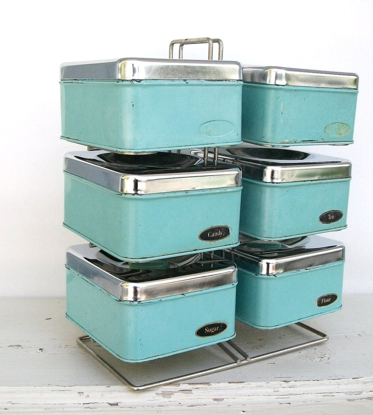 set of six vintage aqua chrome kitchen storage canisters