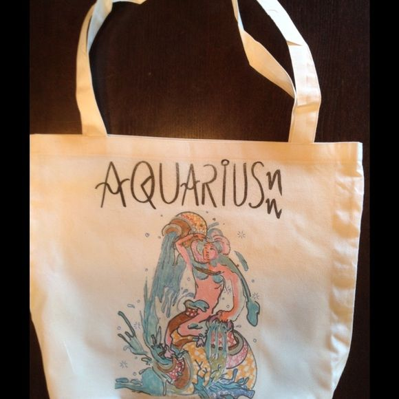 "Hand drawn American apparel AQUARIUS tote bag! Hey , what's your sign? Hand drawn screened original on 50/50 cotton poly tote by AA ! 17.5 x18""❤️ American Apparel Bags Totes"