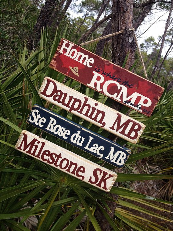 Home Is Where The RCMP Sends Us --  Custom Hanging Sign on Etsy, $49.28 CAD