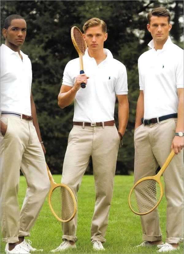 Preppy polo shirts and chinos. Just goes to show a little Nantucket style, even though simple, can still look stylish, effortless and (for me) utterly evocative. Cape Cod, Hyannis, clam chowder, JFK, saltwater taffee etc.