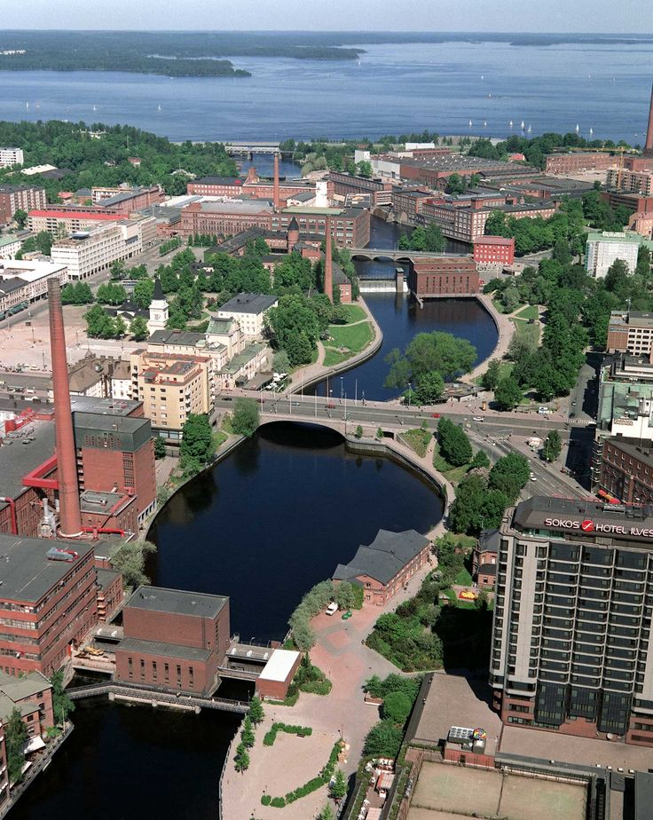 The heart of Tampere, Finland, not far from a similar sized city, Nokia. These downtown brick buildings date from the heydays of papermills but today are mainly galleries, shops, and internet incubators. Spend a good time there during the summer of 2011.