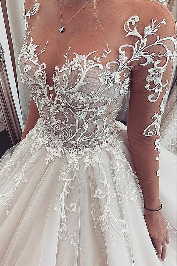 NEW! Chic Tulle Jewel Neckline Ball Gown Wedding Dresses With Lace Appliques & B… – Dresses