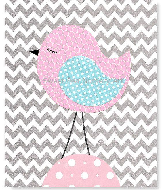 Nursery Art Print Bird Zig Zag Gray Chevron by SweetPeaNurseryArt, $15.00