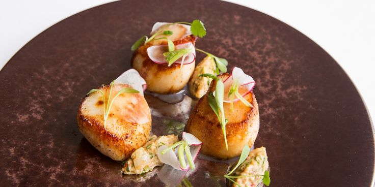 A delicious scallop starter recipe from Russell Bateman, with the perfectly matched flavours of lime, chilli and peanut.