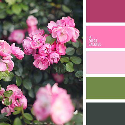color lila, color lila fuerte, color rosa, color rosa capullo, color rosado, colores verde y melocotón, combinación de colores para boda, combinación de colores para interiores, matices de color rosado, matices de color rosado cálido, paleta de colores para primavera, paletas de