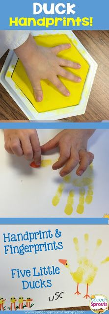 My kids loved this art activity! Stamp hand-prints and fingerprints to go with Five Little Ducks. Spring Speech Therapy Ideas That Are Just Ducky!
