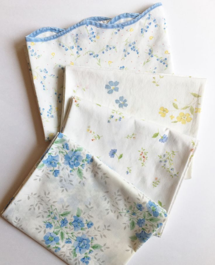 mismatched vintage blue floral pillowcases blue pink yellow flowers set of 4 standard pillow cases