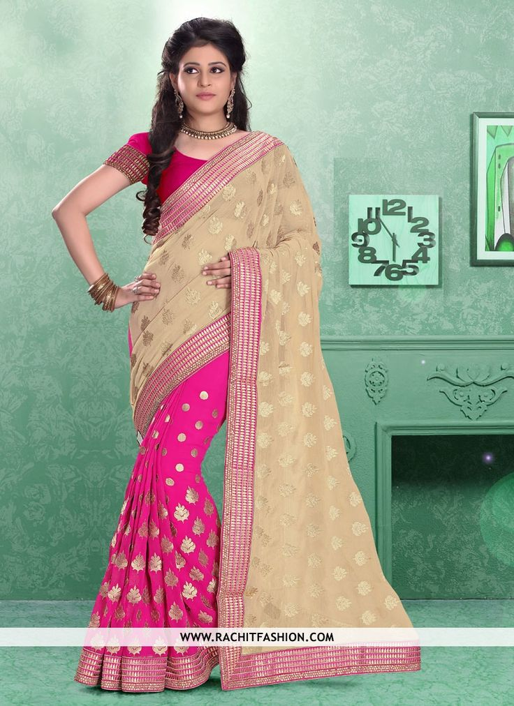 Make a stylish entrance at party wearing this graceful topaz classic saree In pink colour.  #saree #partywear