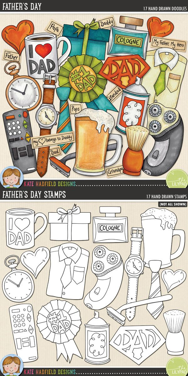Father's Day digital scrapbooking elements | Cute male clip art | Hand-drawn doodles for digital scrapbooking, crafting and teaching resources from Kate Hadfield Designs!