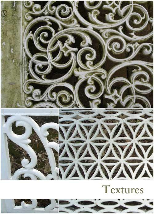 Textures of metal scroll work