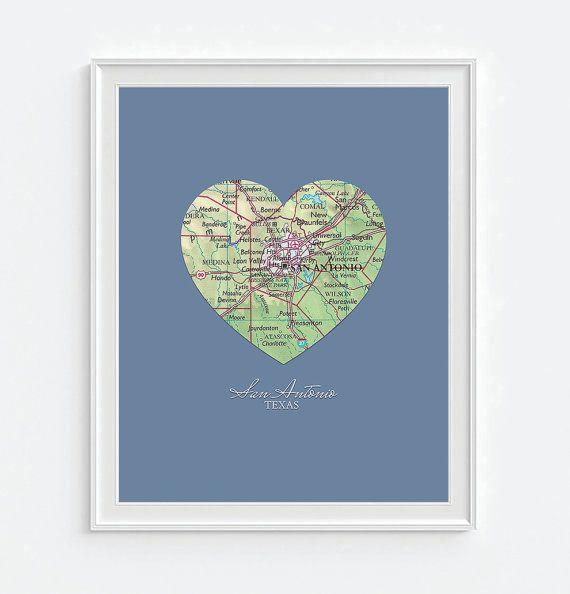 San Antonio Texas Heart Vintage Map ART PRINT by droppedpinshop