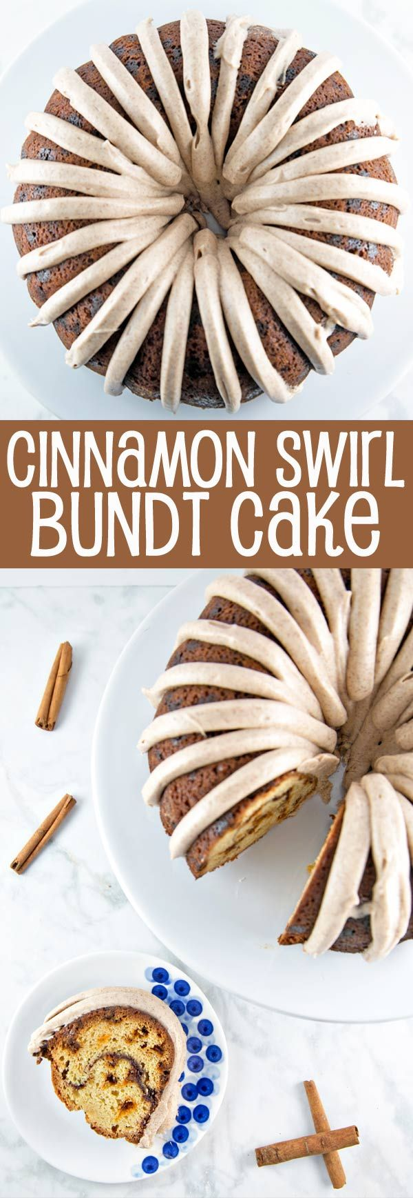 Cinnamon Swirl Bundt Cake: one bowl, whisk by hand, with cinnamon cream cheese frosting. Plus tips for the BEST cake from a boxed cake mix! {Bunsen Burner Bakery} #ad https://ooh.li/4c70eab