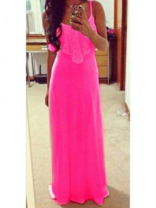 Modern Dresses: Hot Pink Lace Splicing Straps Design Maxi Dress