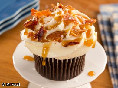 Chocolate Bacon & Sea Salt Cupcakes - Sweet and salty join forces to make one incredible cupcake--just like the special kinds you'd find at your local bakery.
