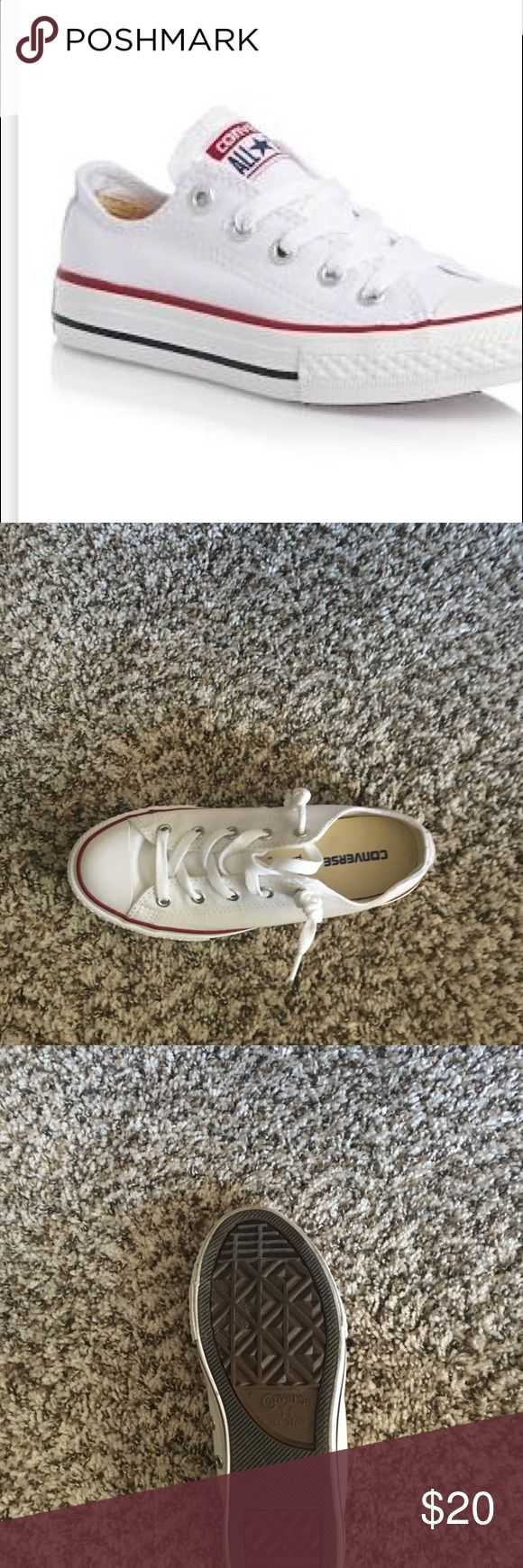 Converse low tops👟 Worn once excellent condition these are a size three in kids which is a six in women's Converse Shoes Athletic Shoes