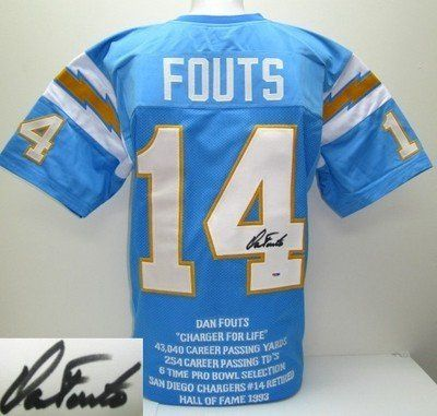 info for 86df6 599a2 san diego chargers 14 dan fouts light blue throwback jersey