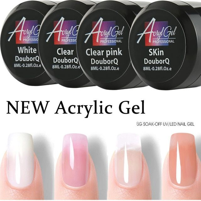 4color Uv Builder Gel Crystal Nails Transparent Uv Gel For French Art Tips Manicure Set Extension White Pink Clear Skin Revi Gel Nails Gel Nail Kit Nail Kit