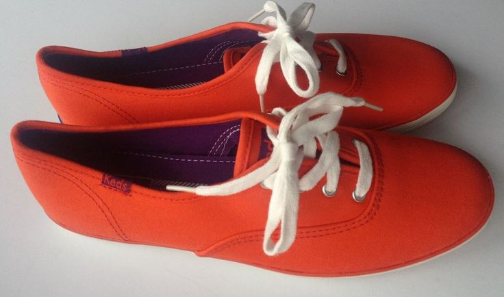 NEW women's Keds SNEAKERS FASHION shoes size 8.5 tomato red orange purple accent #Keds #sneaker