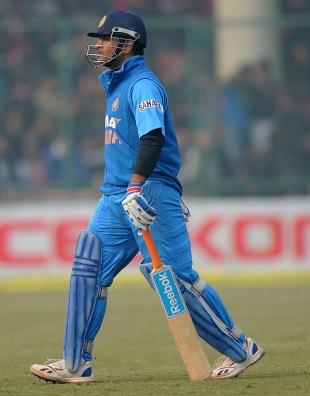 MS Dhoni was dismissed for 36, India v Pakistan, 3rd ODI, Delhi, January 6, 2013