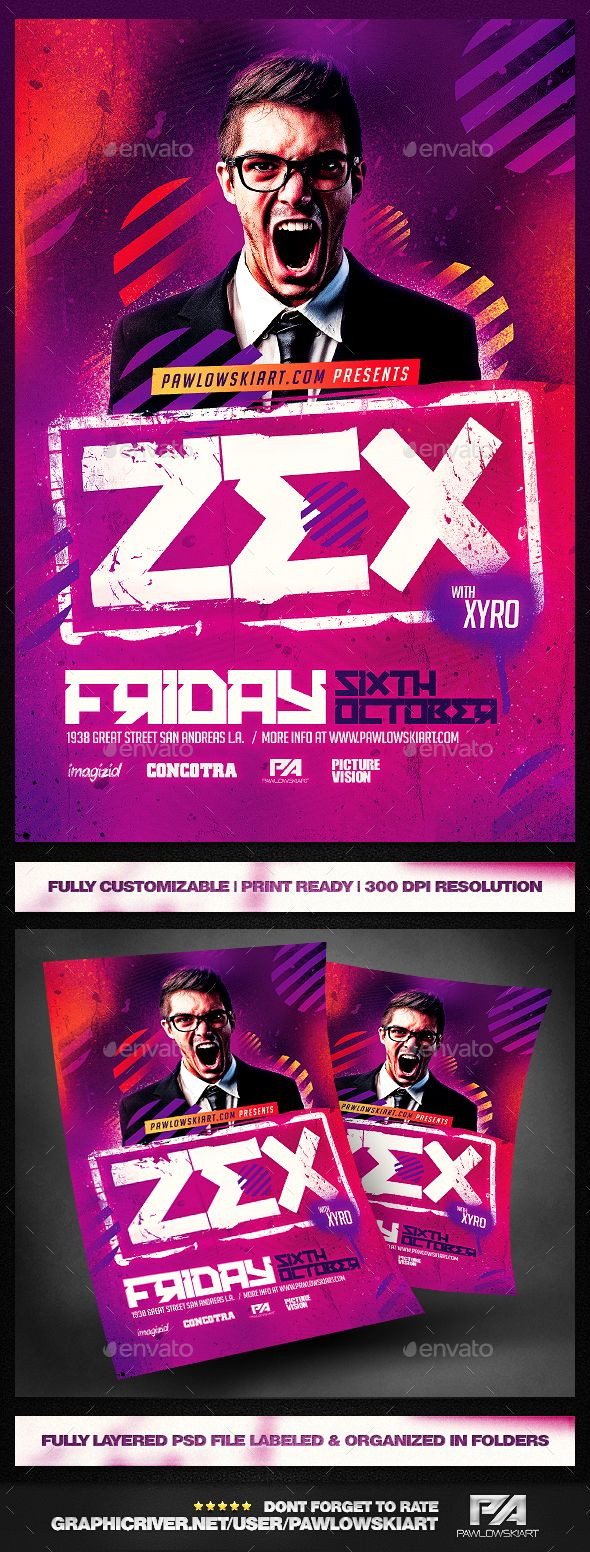 Club DJ Flyer PSD Template - Clubs & Parties Events