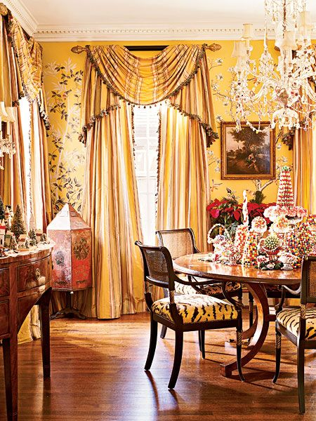 Gracie Wallpaper Dining Rooms | Yellow Gracie Wallpaper And Tiger Patterned  Upholstery Become A .