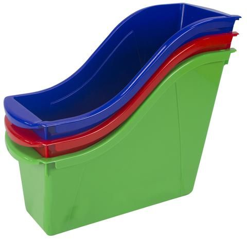 """Keep your books organized.Link our book bins together to make a sturdy book storage or use the easy to grip handles to carry a set of books to your reading corner .The bin will fit taller books and letter sized file folder too. Large book bins hold books, magazines, files, folders, etc.Made of sturdy and drop resistant plastic.Clear pouches included for labelling.Inside measures 8.5"""" deep for storing letter sized files and papers Item Dimensions: 11.75 L x 4.5 W x 8.5 H 0.38 lbs"""