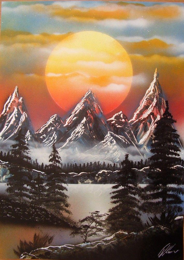 Red sunset spacepainting, spraypainting art - Ivan Perončík