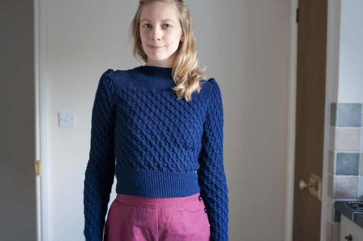 1940s Smart Jumper in Diamond Weave