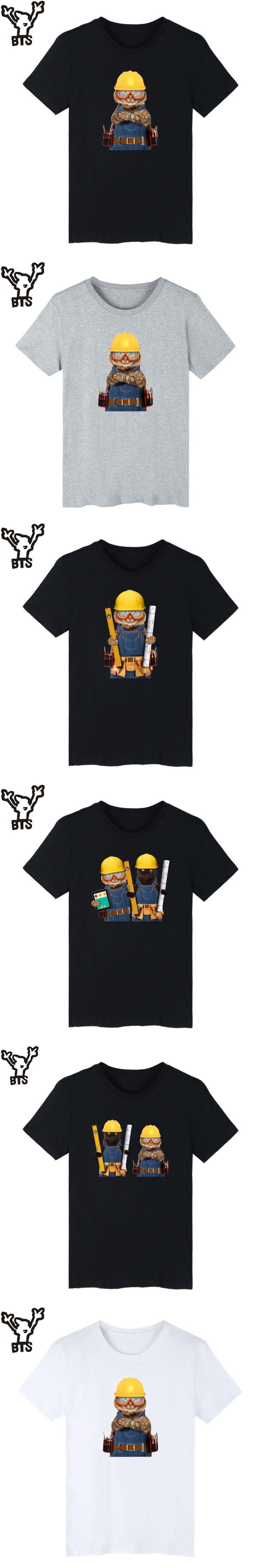 BTS Builder Cat Tee Shirt Men Summer Casual Cartoon Tshirt Men Short Sleeve Kawaii Engineer Cat 4XL Fashion T-shirt Men Cotton
