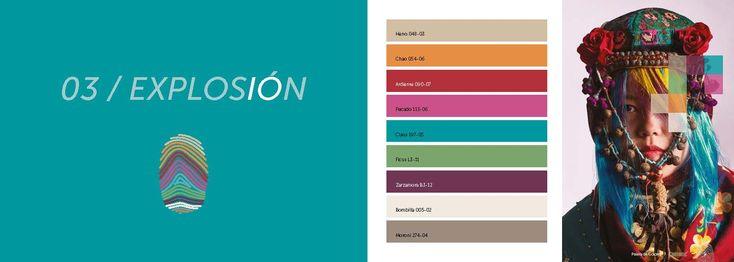 03 EXPLOSIÓN ColorLife Trends 2018. Esta vibrante paleta de color es una interpretación contemporánea de las artes y artesanías de las culturas globales. Inspirada en los tintes pigmentados de los tejidos tradicionales, se crea una gama de brillantes tonos saturados que chocan y se complementan. Un trío de neutros cálidos sirven como una delicada ancla para este despliegue energético.  http://www.podiomx.com/2018/01/03-explosion-colorlife-trends-2018.html