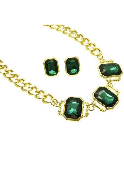 Crystal Link Necklace Set (Green)