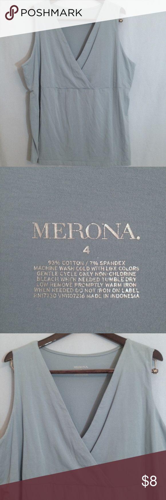 *FINAL* Merona Empire Waist Light Blue Tank Top *FINAL REDUCTION* Merona light blue tank top, empire waist, v-neck, wrap detail in bodice, cotton/spandex. Size 4X. Merona Tops Tank Tops