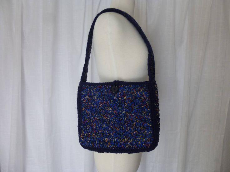 b8b3fef61ce0 ... Vintage 70s Hand-Crochet Shoulder Bag Handbag Structured Crochet Blue  Yarn Square Shape Button Loop ...