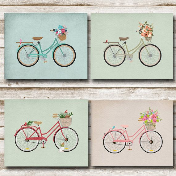 Vintage Bicycle Printable - Set of 4 - 8x10 - Spring, Summer, Fall, Winter  PLEASE check our shops front page for coupon savings!  Instant Download  JPEG Files  Just print, frame and hang!  You will receive three JPEG digital files. They are designed at 300 ppi for a clean, crisp look when printed at 8 x 10.  Our JPEG files are created and saved at the highest level available. This ensures that the creation you buy is a quality printable which can be printed on card stock, regular paper…